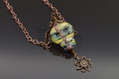 Skull Glass One of a Kind Day of the Dead Copper Necklace - Glass by Tammy Rae