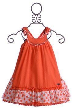 Deux Par Deux Girl Sundress Orange Swiss Dot $59.00