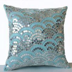 Teal Pillows Embroidered Waves -Sashiko Pillow Cover -Cushion Zipper -Decorative Pillows -Gift -Wedding -Anniversary -Gift for Her Teal Pillow Covers, Teal Pillows, Silver Pillows, Decorative Pillow Covers, Throw Pillows, Anniversary Gift For Her, Wedding Anniversary Gifts, Gift Wedding, Anniversary Ideas