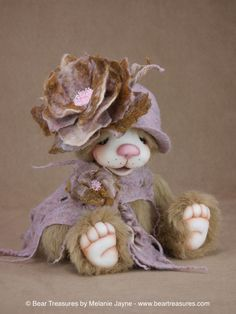 Mohair artist teddy bear with needle felted face and wet felted accessories from Bear Treasures by Melanie Jayne