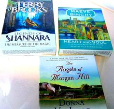 .99 cent Auctions to Go! ---for your review 3 audio books...only used once...these include  The Angels of Morgan Hill   Donna VanLiere Heart and Soul  Maeve Binchy Legends of Shannara   Terry Brooks