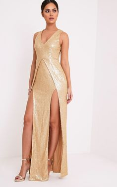 Jestina Gold Sequin Maxi Dress Image 3
