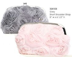 Love this Flower Covered Purse for your bridesmaids in Pink or Grey - affordableelegancebridal.com