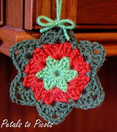 This Granny Star Ornament is worked in rounds using three contrasting colors. Make one or make many to hang on your tree this year.