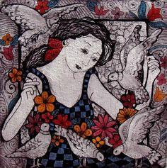Artwork of Anine Barnard exhibited at Robertson Art Gallery. Original art of more than 60 top South African Artists - Since Face Art, Art Faces, Fine Arts Degree, South African Artists, Woman Painting, Beautiful Birds, Graphic Art, Original Art, Folk