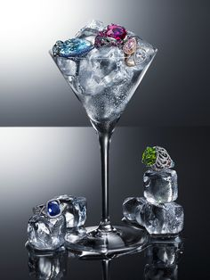 Jewel Cocktail with luxury Jewellery for Harrods Magazine, photographed by London-based still life photographer Chris Turner. #ice #jewelcocktail #harrods #stilllifephotography