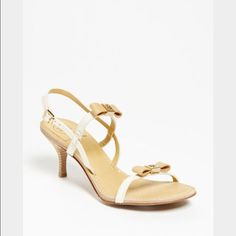 Tory Burch Kailey sandals, US 10 70mm heel. Veg Leather. Brand new in box Leather bow detail with gold-tone metal logo color-blocking, white leather straps with beige leather bows, buckle closure at ankle  Color: Iced Coffee/Bleach, Retail $285 Size 10 Tory Burch Shoes Sandals