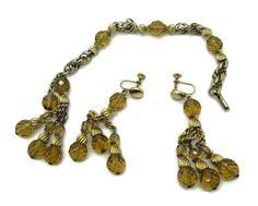 Eisenberg Amber Glass Gold Tone Bracelet and by LeesVintageJewels