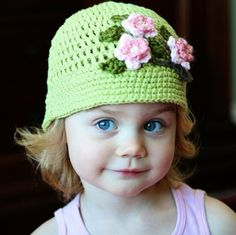 Cherry Blossom Cloche Crochet Hat with by MooseMouseCreations