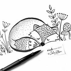 104 vind-ik-leuks, 2 reacties - Claire Wilson (@clairewilsondesigns) op Instagram: 'Day 7...a sleepy little fox for today's #inktober before my weekend fun starts Hope you've all…'