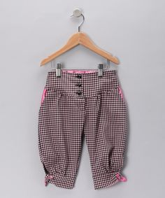 Take a look at this Pink & Black Gingham Capri Pants - Toddler & Girls on zulily today!