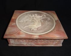 """Vintage Incolay Stone Hinged Jewelry Box """"La Fortuna""""  I bought this in 1979 in a different"""