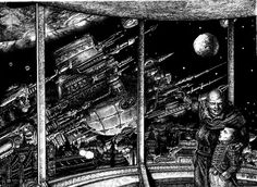 Tony HoughBattlefleet Gothic  Someday, Son.... Trying to convey the sheer scale of the ships in BFG! The exterior of the ship we're in spreads out like a huge city in space. I used a 0.18mm isograph pen for detailing. The actual original is very small. Drawn around xmas 1989.