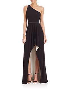 Halston Heritage - One-Shoulder Asymmetrical Gown