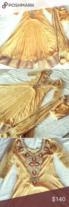 Golden Anarkali Gown Indian Pakistani dress Bust 40 length 55 inches 3/4 sequin sleeves, the chest and neckline wotk is stone, gold and brown thread. Material is net and has a thick gold patti at the bottom. Perfect for weddings Dresses Maxi