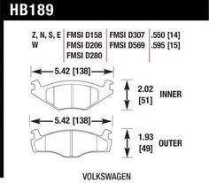 Hawk 1981-1992 VW Jetta/ 1985-1992 VW Golf GTI/ 79-80/87 VW Scirocco/ 82-86 VW Quantum/ 85-90 VW Cabriolet/ 79-84 VW Rabbit Front Blue 9012 Brake Pads