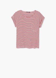 Gestreept katoenen t-shirt | MANGO