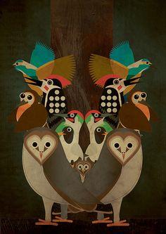 Charley Harper-inspired birdies.