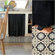 vinyl floor mat for kitchen Vinyl Floor Mat, Vinyl Flooring, Floor Mats, Tile Floor, Shabby Chic Interiors, Portuguese Tiles, Kitchen Mat, Vinyl Designs, Geometric Designs