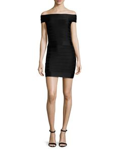 Spotlight+Star+Off-the-Shoulder+Bandage+Dress,+Black+by+French+Connection+at+Neiman+Marcus.