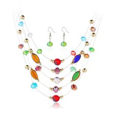 Multicolored Crystal Statement Necklace with Earrings Jewelry Set