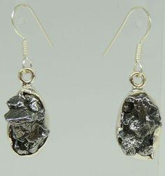 Seltene Meteorit Camo del Cielo / Argentienien Ohrhänger 925 Silber Ohrschmuck