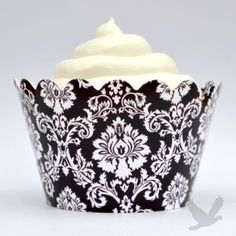 Classic Black Damask Cupcake Wrappers (12 Wraps) BEST SELLER!