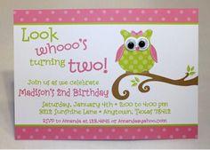 Cute Owl themed birthday party invitation by PaperMonkeyCompany, $1.25