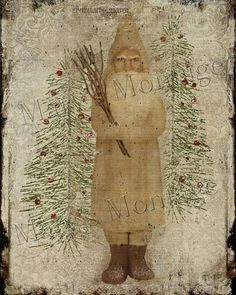 38 Festive Rustic Farmhouse Christmas Decor Ideas to Make Your Season Both Merry and Bright - The Trending House Primitive Santa, Primitive Folk Art, Primitive Crafts, Country Primitive, Primitive Patterns, Santa Paintings, Christmas Paintings, Acrylic Paintings, Prim Christmas