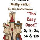 """Go Monkey!"" Multiplication Go Fish Game The Easy Ones ~ 0, 1, 2, 5 and 10s! Common Core Standards  Math - Operations & Algebraic Thinking Thir..."