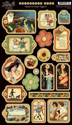 Graphic 45 - Place in Time Collection - Die Cut Chipboard Tags - Two Vintage Labels, Vintage Cards, Vintage Paper, Vintage Images, Unique Vintage, Graphic 45, Graphic Design, Paper Bag Scrapbook, Scrapbook Cards