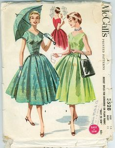 LOVELY Full Skirt Dress Pattern McCalls 3528 Bordered or Plain Fabric Easy To Sew Figure Flattering Rockabilly Dress Vintage Sewing Pattern Bust 38 Vintage Sewing Pattern 1950s Dress Patterns, Vintage Sewing Patterns, Pattern Sewing, Moda Vintage, 1950s Fashion, Vintage Fashion, Vintage Style, Vintage Colors, Men Fashion