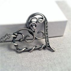 Sterling Silver Heart Necklace  Antique Silver by KianDesigns