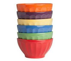 Colorful Stoneware Bowl Set  Set of 6 versatile solid-colored stoneware bowls each hold a generous 20 oz.