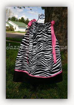 Girls+Pillowcase+Dress+in+Zebra+with+Black+by+jazzygirlboutique,+$20.75