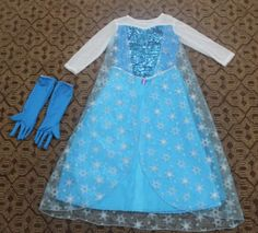 Frozen Ice Queen Elsa Dress Gown Costume with Gloves Princess Elsa Dress, Frozen Elsa Dress, Queen Dress, Elsa Halloween Costume, Frozen Costume, Ice Dresses, Girls Dresses, Ladies Fancy Dress, Custom Dresses