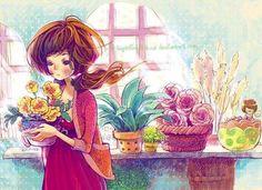 Girl and flowers illustration via www.Facebook.com/GleamOfDreams Fantasy Illustration, Cute Illustration, Henri Matisse, Girly, Girls With Flowers, True Art, Ink Illustrations, Art Girl, Watercolor Paintings