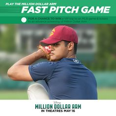 Do you have the Play the Million Dollar Arm Fast Pitch game now for a chance to win tickets to a Major League game and an advanced screening of the movie! Million Dollar Arm, Hk Movie, Mlb Games, Game Tickets, League Gaming, The Millions, Major League, Pitch, Play