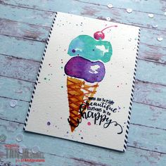 Reasons to be happy - I created this watercolor ice cream cone for our wonderful birthday girl Shery. https://littleartcottage.blogspot.com/2018/07/reasons-to-be-happy.html #stamplorations #kuretake #gansaitambi #watercolors #patternedpaper #handmade #cardmaking #stamps #stamping