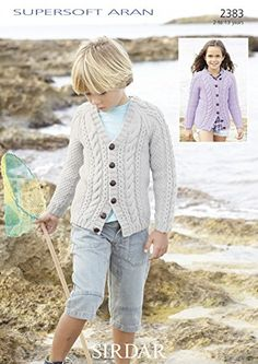 Sirdar 2383 Girl's and Boy's Cardigans uses #4 worsted weight yarn. Sizes 2 to 13 years.