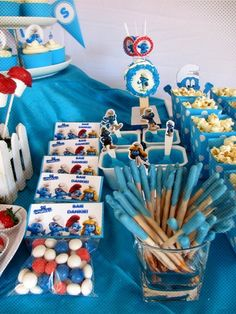 Adele S's Birthday / Smurfs - Photo Gallery at Catch My Party 3rd Birthday Party For Boy, Birthday Party Treats, Birthday Ideas, Troll Party, Decoration, Halloween, Party Ideas, Smurfette, Google Search