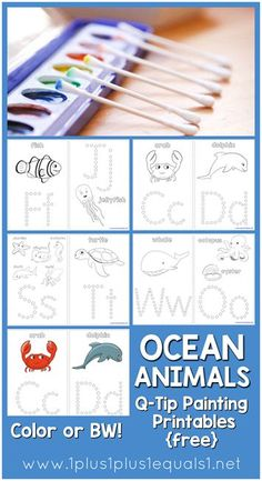 Here are FREE Q-Tip Ocean Animal Printables. These are perfect for learning letters and practicing f Free Preschool, Preschool Learning, In Kindergarten, Preschool Activities, Teaching, Motor Activities, Toddler Preschool, Summer Activities, Q Tip Painting