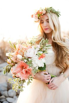 #Peach | #Bouquet | On SMP - http://www.StyleMePretty.com/utah-weddings/2014/01/07/gold-peach-mother-daughter-bridal-inspiration/ Kristine Curtis Photography