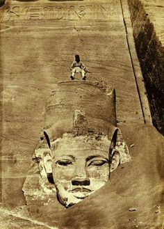 Rameses II at Abu Simbel, 19th century photo before relocation to current location