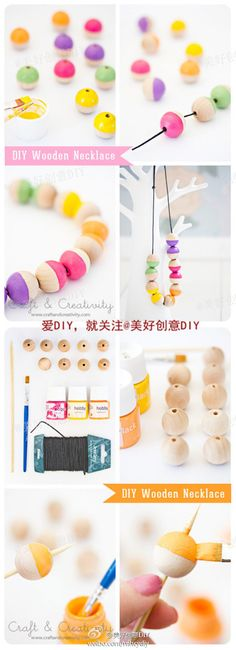 Kids can paint their own beads first! #DIY Wooden Necklace #crafts #kids