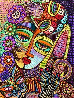Indigo Tapastry Royal Cats Painting by Sandra Silberzweig Sandra Silberzweig, Tableau Pop Art, Art Visage, Atelier D Art, Art Abstrait, Aboriginal Art, Psychedelic Art, Art Plastique, Teaching Art