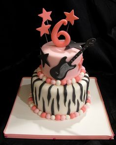 Rock Star Cake- make a version for Madrid with material decor and icing instead of fondant. Pink and Black, teal?
