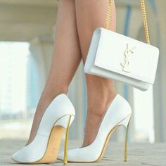 c544adf21031 Shoes with matching handbag by YSL White And Gold Heels
