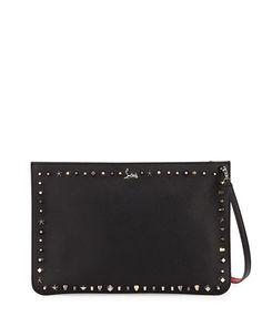 CHRISTIAN LOUBOUTIN Loubiclutch Empirespikes Mixed-Spike Clutch Bag. #christianlouboutin #bags #shoulder bags #clutch #lining #leather #hand bags #