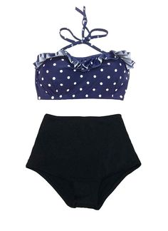 Navy Blue Polka Dot Midkini Top and Black Bottom by venderstore